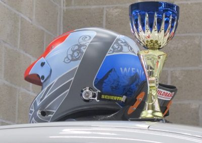 Colin - Spa 3rd place trophy & helmet